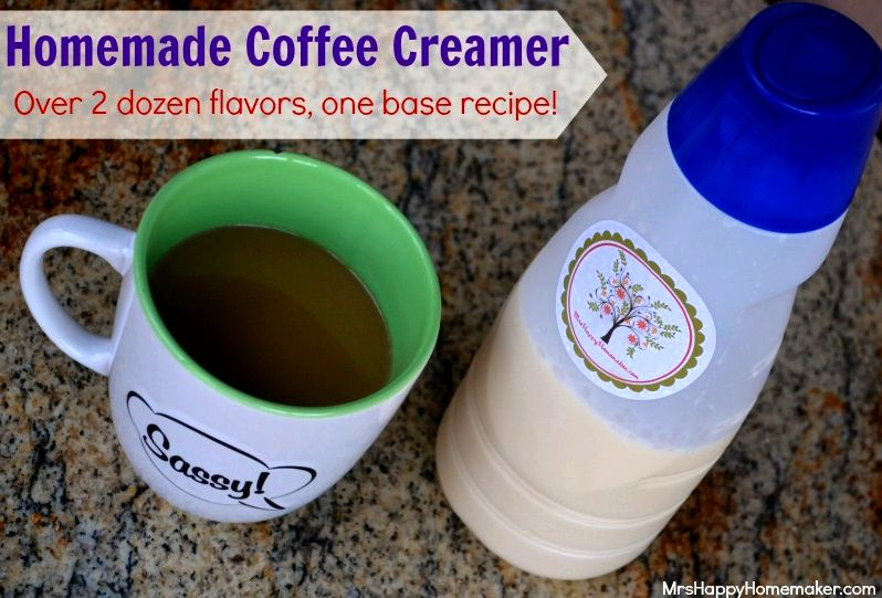 Homemade Coffee Creamer - over 2 dozen flavor possibilities with one base recipe!