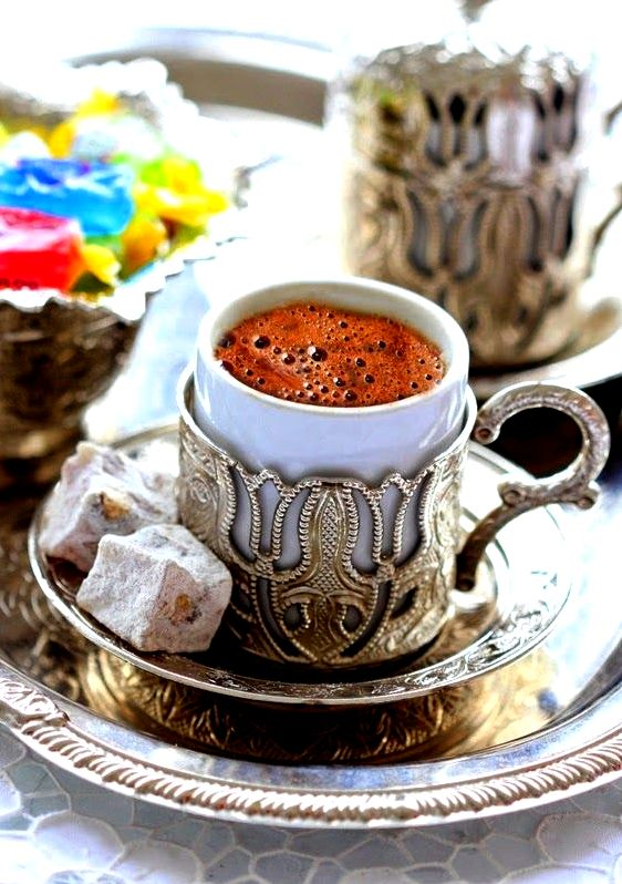 The actual turkish coffee on sand, they were lounging the tray